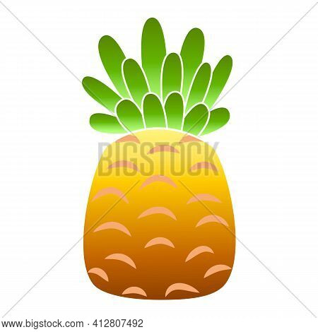 Ripe Pineapple Icon. Cartoon Of Ripe Pineapple Vector Icon For Web Design Isolated On White Backgrou