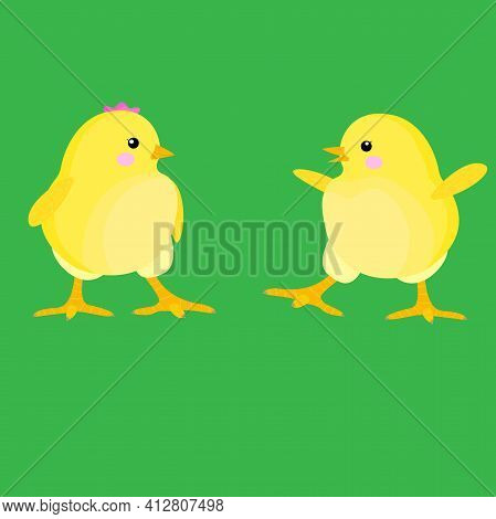 Stock Vector Illustration Of Easter Chickens On The Grass. Children's Image Of Funny Chickens, A Chi