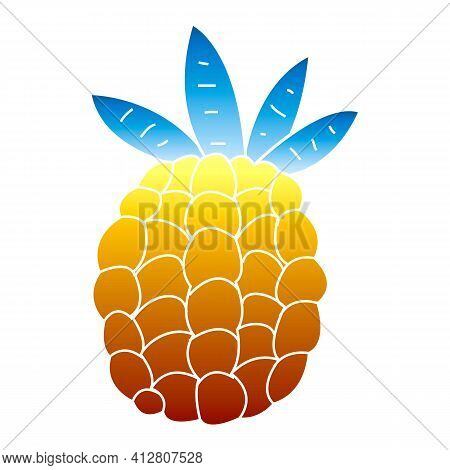 Exotic Pineapple Icon. Cartoon Of Exotic Pineapple Vector Icon For Web Design Isolated On White Back
