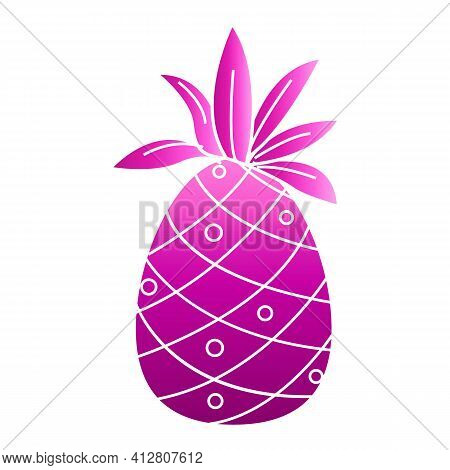 Pink Pineapple Icon. Cartoon Of Pink Pineapple Vector Icon For Web Design Isolated On White Backgrou