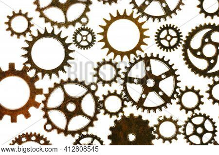 Gears Isolated On White Background.steampunk. Clockwork Details.gears And Vintage Keys. Time And Eve