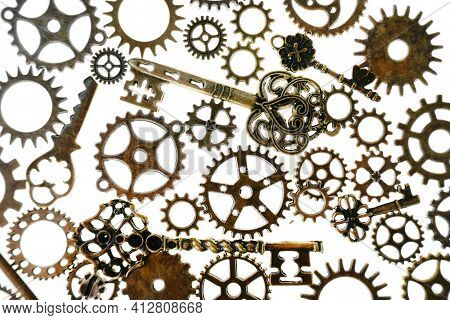 Gears Isolated On White Background.steampunk Details. Clockwork Details.gears And Vintage Keys. Time