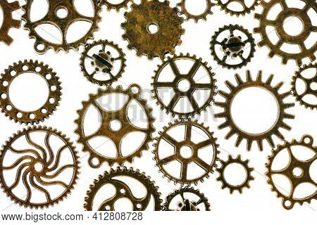 Gears Isolated On White Background.steampunk Details. Clockwork Details.gears . Time And Events.time