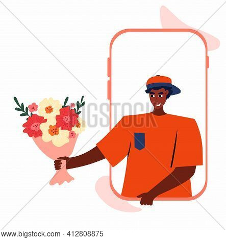 Receiving Blooming Plants In Wrapping From Man Courier Worker. Flower Bouquet Delivery Service Adver
