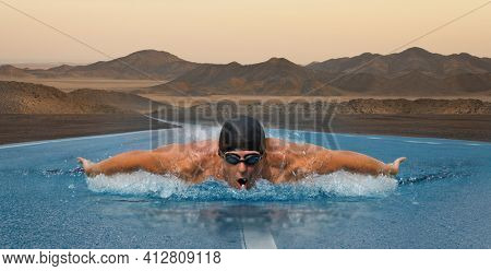Asphalt swimmer. Strong man swim on asphalt road. Concept