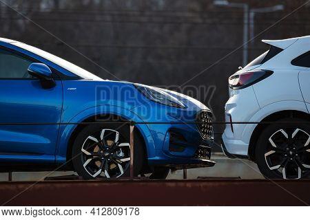 Budapest, Hungary - February 28, 2021: New Ford Puma St-line 2021. Creative Sunset Low Light Photosh