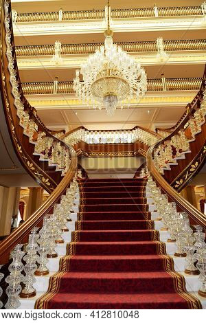 Antalya, Turkey - April 23: The Lobby Of Mardan Palace Luxury Hotel, It Is Considered Europes Most E