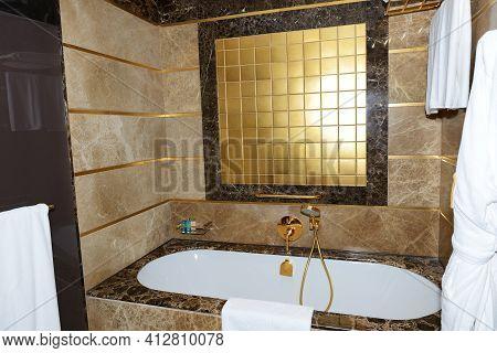 Antalya, Turkey - April 23: The Bathroom In Apartment Of Mardan Palace Luxury Hotel, It Is Considere