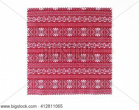 Aerial View Of Red Cloth Tribal, Folk And Mexican Style Isolated On White Backgrounds. Ethnic Textil