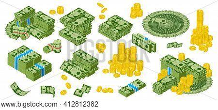 Isomeric Dollar Cash. Green Dollar Bills And Golden Coins Piles, Bundle Of Gold Dollar Coins. Cash M