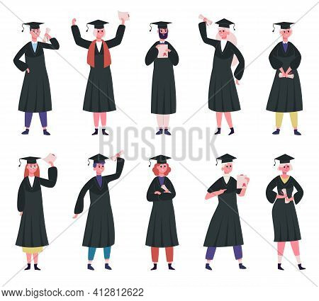 Graduated Students. College Graduates Wearing Traditional Caps And Academic Robe. Happy Students Wit