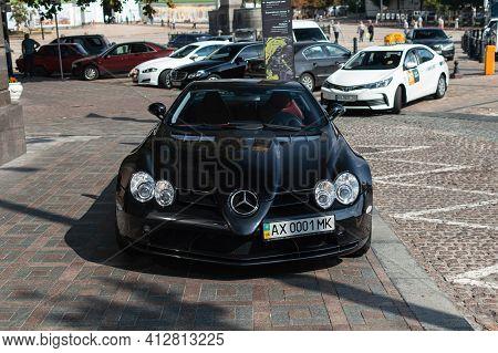Kyiv, Ukraine - September 2019. Legendary Supercar Mercedes-benz Slr Mclaren In A Black Color.