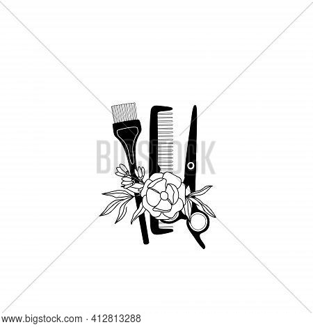 Hairdressing Scissors, Comb, Hair Dye Brush And Flower, Logo In Minimalist And Vintage Style. Vector