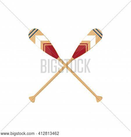 Crossed Oars Set In Cartoon Style, Vector