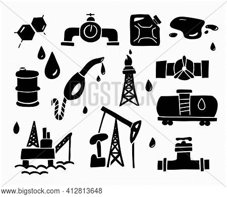 Gas And Oil Doodle Set. Petrol Outline Elements. Hand Drawn Icons And Sketch