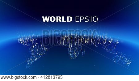 World Night Connect Planet. Vector Globe 3d Art. Worldwide Earth Planet
