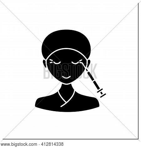 Neurotoxin Injection Glyph Icon.injection Into Corners Of Eyes. Eyes Lifting.rejuvenation. Full Syri