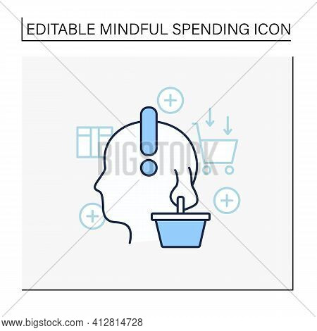 Conscious Consumer Line Icon. Thoughtful Shopping. Thoughtful Spending Money. Buying Necessary Thing