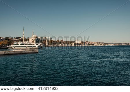 View Of Seafront With Moored Ships In Istanbul, Turkey.