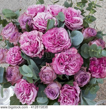 Pink Peony Roses With Eucalyptus In A Wedding Bouquet. View From Above