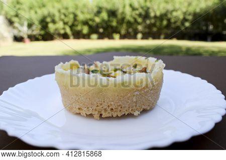 Traditional And Authentic Halwai Style Indian Sweet Dish Called Ghevar Or Ghewar, Indian Dessert Pre