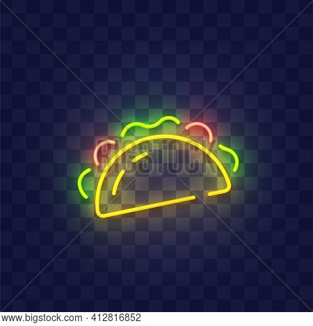 Taco Neon Sign Isolated, Bright Signboard. Taco Icon Neon, Emblem. Vector Illustration