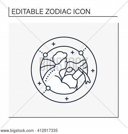 Aquarius Line Icon. Eleventh Fire Sign In Zodiac. Water Bearer Birth Symbol. Mystic Horoscope Sign.