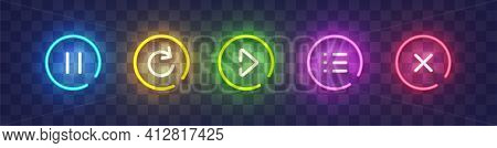 Set Of Vector Neon Game Buttons. Colored Neon Buttons. Game Button And Icon Neon. Vector Illustratio