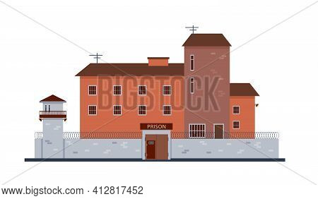 Prison Building Exterior. Jail Fasade Front View.