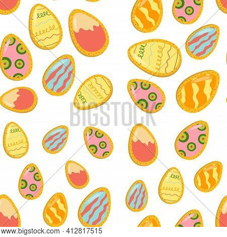 Easter Gingerbread Seamless Pattern In The Form Of Eggs. Easter Cookies. Vector Cartoon Illustration