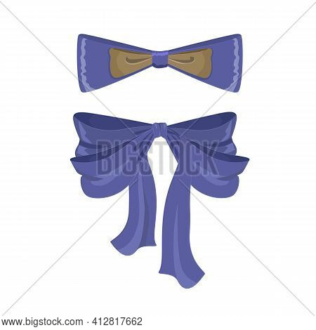 A Set Of Decorative Bow Or Ribbon And Bow-tie In Blue-gray Color. Men's Tie And Women's Ribbon. A De