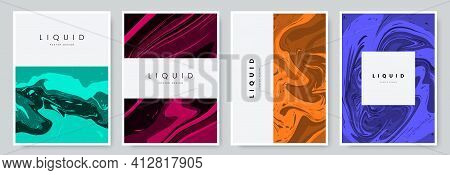 Artistic Poster Design With Marble Textured Effect. Colorful Liquid Acrylic Paint Vector Background.
