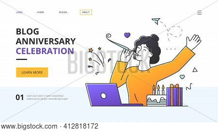 Blog Anniversary Celebration With Young Woman Partying By Herself Seated At A Computer In The Office
