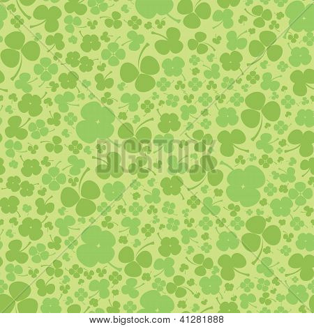 Seamless clover background. Green leaf quatrefoil.