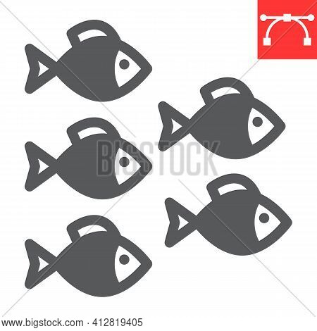Group Of Sea Fishes Glyph Icon, Sea Fish And Ocean Animals, Fishes Vector Icon, Vector Graphics, Edi
