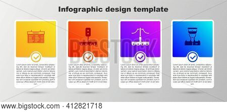 Set Train Station Board, Traffic Light, Railway And Conductor. Business Infographic Template. Vector