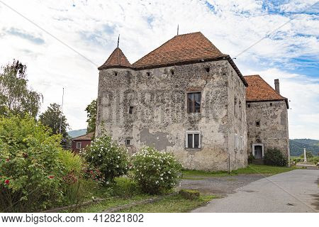 View On Medieval Castle St. Miklos ( Saint Miklos ) Outdoor. Chynadiyevo Village, Western Ukraine. E