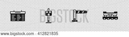 Set Train Station Board, Traffic Light, Railway Barrier And Cargo Train Wagon Icon. Vector