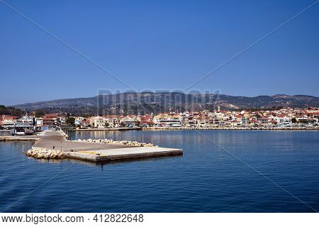 View Of The Port And Buildings Of The City Of Lixouri On The Island Of Kefalonia In Greece