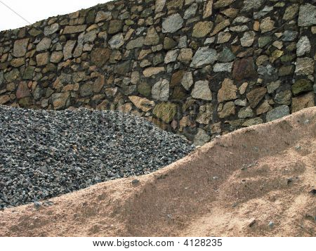 sand rock and stone layered into a hill poster