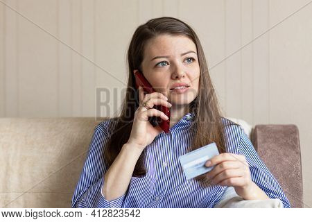 Girl Talking On Phone, Mobile, Holding Credit Banking Card. Young Woman Making Online Purchase, Paym
