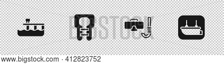 Set Beach Pier Dock, Life Jacket, Diving Mask And Snorkel And Lifeboat Icon. Vector