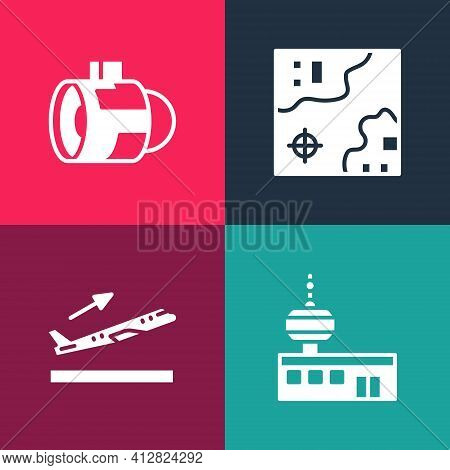 Set Pop Art Airport Control Tower, Plane Takeoff, World Travel Map And Jet Engine Turbine Icon. Vect