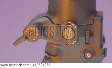 China, Beijing - March 2021: Details Of Stabilizer For Camera. Action. Professional Installation For