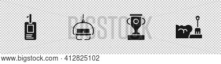 Set Identification Badge, Ski Lift, Award Cup And Shovel In Snowdrift Icon. Vector