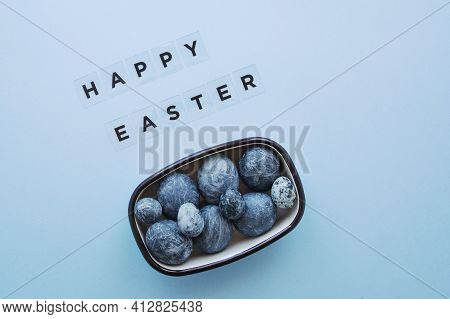 Modern Composition For Easter Holiday On Blue Background, Lettering Happy Easter, Painted Blue Marbl