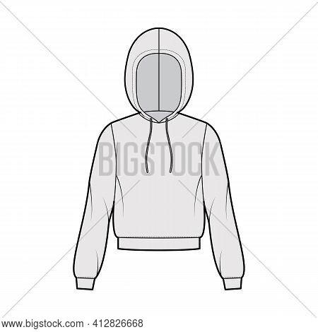 Hoody Sweatshirt Technical Fashion Illustration With Long Sleeves, Relax Body, Banded Hem, Drawstrin