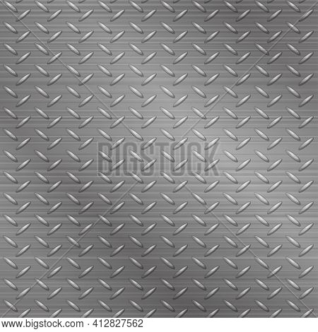Seamless Metal Tracery Bright Gray Textured Background.