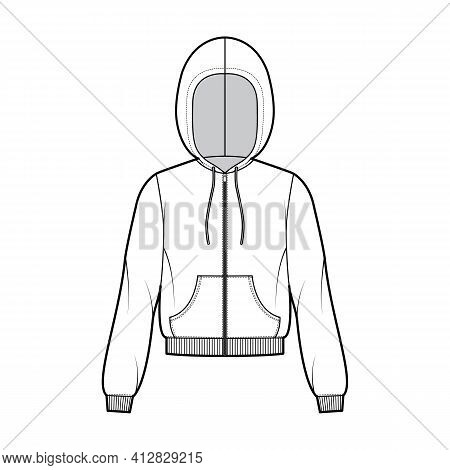 Zip-up Hoody Sweatshirt Technical Fashion Illustration With Long Sleeves, Relax Body, Kangaroo Pouch