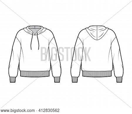 Hoody Sweatshirt Technical Fashion Illustration With Long Sleeves, Oversized Body, Banded Hem, Draws